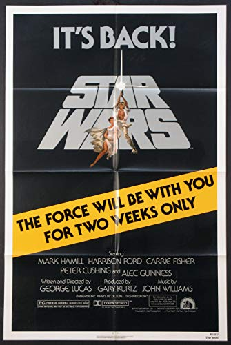 STAR WARS GEORGE LUCAS TWO WEEKS ONLY R-1981 ORIGINAL 27X41 ONE SHEET MOVIE POSTER NEAR MINT