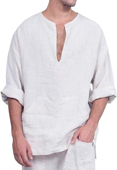 XuxMim - Camiseta de Manga Larga para Hombre, algodón y Lino ...