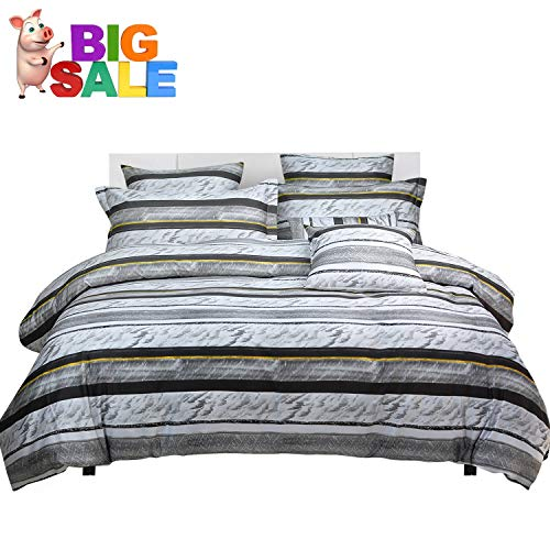 (Softta Marble Queen Size Bedding Black and White Ink Striped Duvet Cover 3 Pcs 100% Egyptian Cotton 800 Thread Count Hypoallergenic)