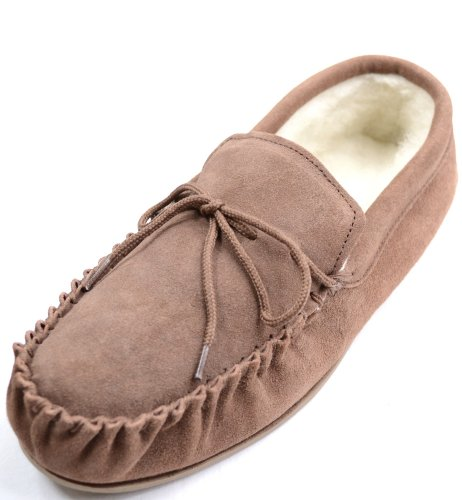 Snugrugs Mujeres Dark Brown Wool Forrado Mocasin Zapatillas Con Suela De Goma. Marrón Claro
