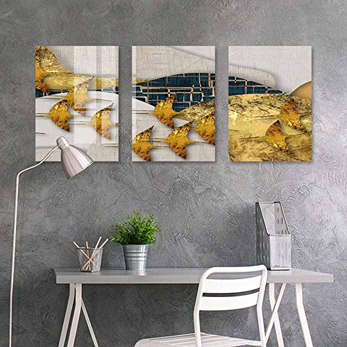 BDDLS Canvas Wall Art Sticker Murals,a Few of Yellow Geese Flying South for Living Room Bedroom Decor,16x24inchx3pcs]()