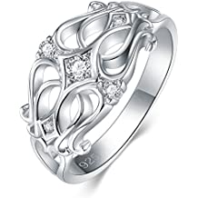925 Sterling Silver Ring, Boruo Cubic Zirconia Celtic Knot CZ Diamond Eternity Engagement Wedding Band Ring