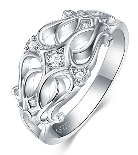 Celtic Zirconia - BORUO 925 Sterling Silver Ring, Cubic Zirconia Celtic Knot CZ Diamond Eternity Engagement Wedding Band Ring Size 5
