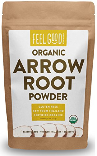 Organic Arrowroot Powder (Flour) - 1 Pound Resealable Bag (16oz) - 100% Raw From Thailand - by Feel Good Organics