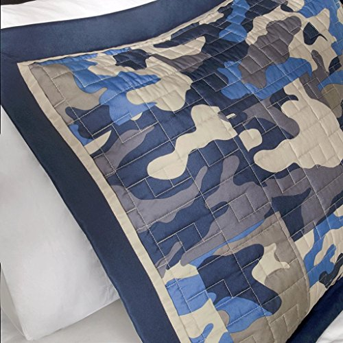 Reversible Teen Boys Kids Blue Camo Print Coverlet Bedding Set with Pillow (Full/queen) Includes Cross Scented Candle Tarts