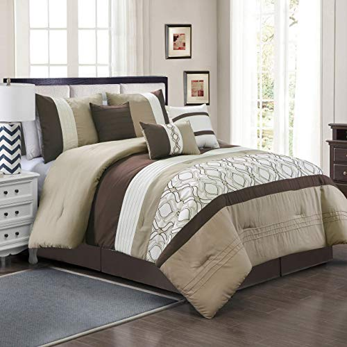 - 11 Piece Elma Taupe/Coffee/White Bed in a Bag w/600TC Cotton Sheet Set Cal King