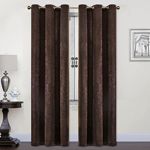 SUO AI TEXTILE Room Darkening Suede Curtains Set of 2 Grommet Top Panels for Living Room - SUO AI Thermal(37x84,CHOCOLATE) (Set Room Suede Living)