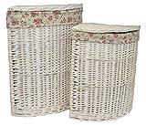 Set of 2 Corner White Wash Laundry Basket with a Garden Rose Lining
