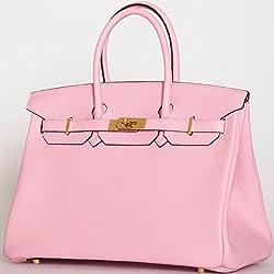 Nour Amira Premium Birkin Style Genuine Italian Togo Leather Bag - 35cm Gold (Black - Pink Interior)