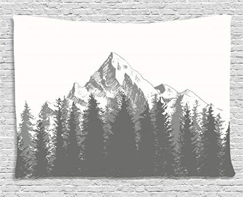 Ambesonne Primitive Decor Tapestry, Mountain with Fir Forest and Native American Arrow Figure Folk Style Retro Print, Wall Hanging for Bedroom Living Room Dorm, 60 W X 40 L inches, Dimgrey