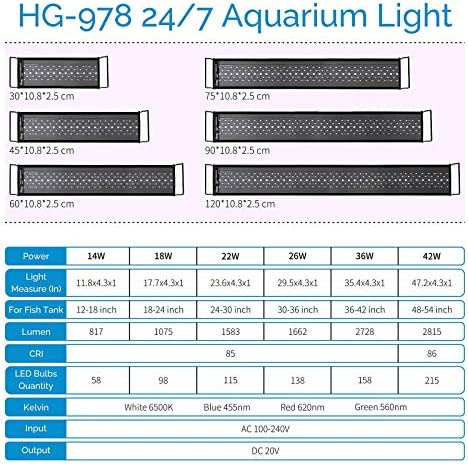 hygger Advanced 24/7 Lighting Cycle LED Aquarium Light Multi-Color Full Spectrum Light with Timer for 12-54 in Freshwater Planted Tank