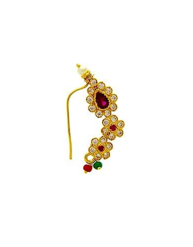 d5b532ce930f8 Buy Anuradha Art Gold Finish Studded Stone Designer Traditional Nath ...