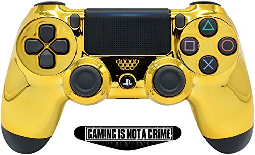 Gold Custom PS4 PRO Rapid Fire Custom Modded Controller 40 Mods for All Major Shooter Games & More, Custom LED (CUH-ZCT2U) (Ps4 Custom Controller Modded)