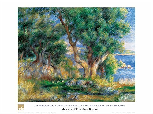 Buyartforless Landscape On The Coast, Near Menton by Pierre-Auguste Renoir 24x32 Art Print Poster Famous Painting Landscape Trees Ocean Water View
