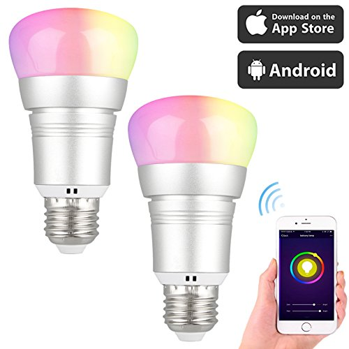 EEEkit 2-pack LED Smart WiFi Light Bulb, 7W (60W Incandescent Equivalent), RGB Multicolor Compatible with Alexa Google Home Assistant, Decorative Lamp for Christmas, Halloween, Festival, Party