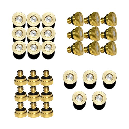 Hylaea 32pcs/Pack 0.4mm Orifice Thread 10/24 UNC Outdoor Micro Cooling System Low pressure Brass Misting Nozzles, Greenhouse Water Mist Spray Nozzle, Outdoor Mosquito Mister Nozzles by Hylaea