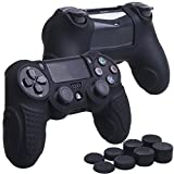 YoRHa Perfect Grip No Smell Silicone Cover Skin Case for Sony PS4/slim/Pro controller x 1(black) With Pro thumb grips x 8