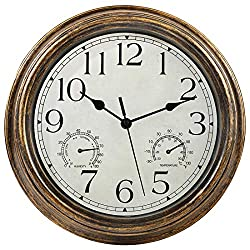 12-Inch Indoor/Outdoor Waterproof Wall Clock with Thermometer and Hygrometer Combo,Vintage Silent Non-Ticking Battery Operated Clock Wall Decorative- Bronze