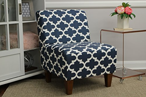 Price comparison product image Mainstays Amanda Armless Accent Chair (Navy Blue and White)