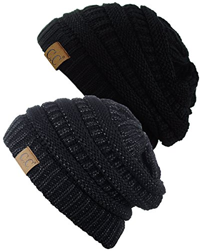 - C.C Trendy Warm Chunky Soft Stretch Cable Knit Beanie Skully, 2 Pack Black/Black Metallic