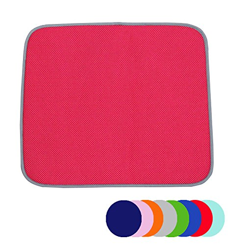 Jovilife Dish Drying Mat Kitchen Mat(set of 2) Microfiber Absorbent Washable,16*18 Inch,Red