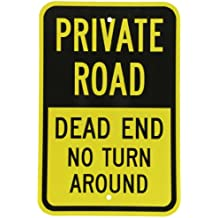 """SmartSign 3M Engineer Grade Reflective Sign, Legend """"Private Road - Dead End No Turn Around"""", 18"""" high x 12"""" wide, Black on Yellow"""