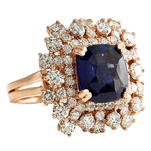 7.46 Carat Natural Blue Sapphire Diamond Ring 14K Solid Rose Gold