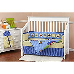 Dream On Me Travel Time 5 Piece Reversible Crib Bedding Set cars, trucks