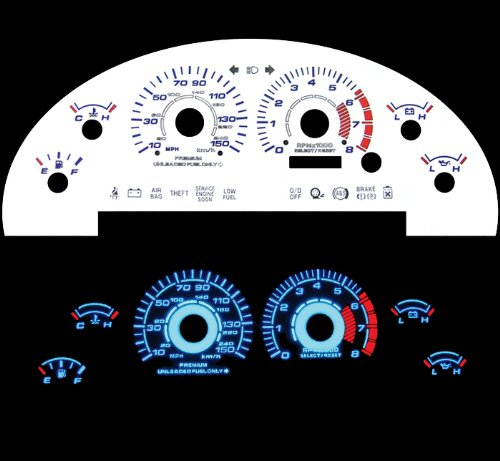 99-04 Ford Mustang Gt V8 White Glow El (99 Reverse Speed Glow Gauges)