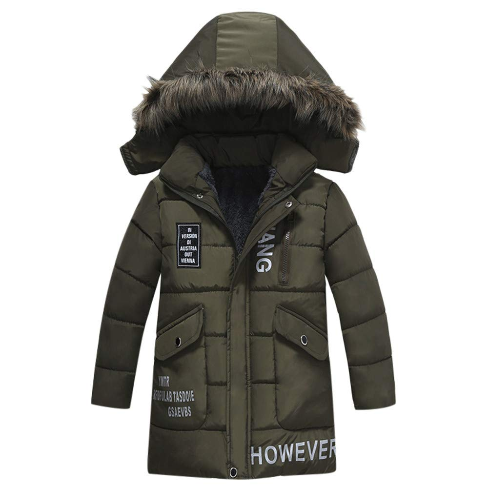 Little Kids Winter Warm Coat,Jchen(TM) Fashion Children Baby Girl Coat Winter Letter Print Warm Jacket Boy Faux Fur Hooded Wine Coat for 2-6 Y (Age: 4 Years Old, Green)