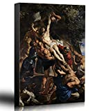"Wall26 - Oil Painting of ""Raising of the Cross"" by Peter Paul Rubens - Baroque Style - Jesus Christ, Catholic, Christianity - Canvas Art Home Decor - 24x36 inches"
