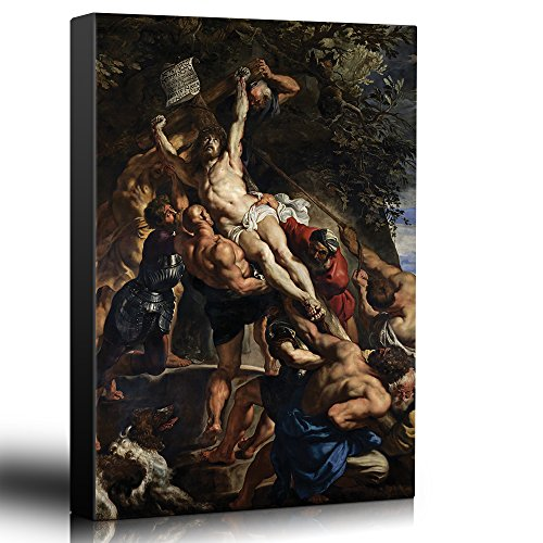 (wall26 - Oil Painting of Raising of The Cross by Peter Paul Rubens - Baroque Style - Jesus Christ, Catholic, Christianity - Canvas Art Home Decor - 24x36)