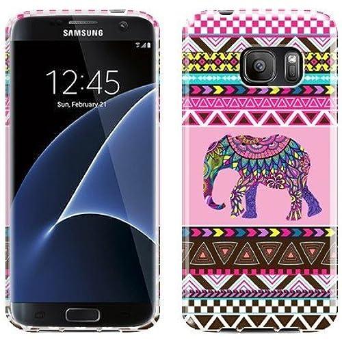 NextKin Flexible Slim Silicone TPU Skin Gel Soft Protector Cover Case For Samsung Galaxy S7 Edge G935 - Elephant Aztec Sales