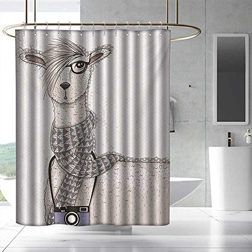 Teen Room Wide Shower Curtain Hipster Lama Figure with Hair Style and Camera Artist Animal Humorous Graphic Fabric Shower Curtain Bathroom W48 x L84 Beige Tan ()