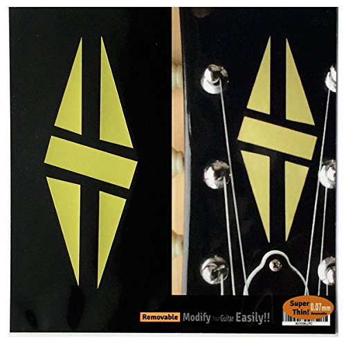 Headstock Decal (Inlay Sticker Decal Guitar Headstock In Gold - 2pcs SET LP Diamond Hatch GD)