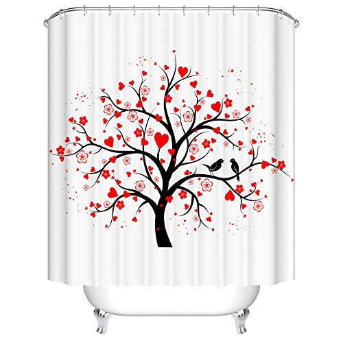 Fangkun Tree of Life Decor Shower Curtain Set - Valentine Tree with Swirling Hearts Love Future Couple Decorative - Polyester Fabric Bath Curtains - 12 Shower Hooks - 72 x 72 inches (Hearts Shower Curtain Set)