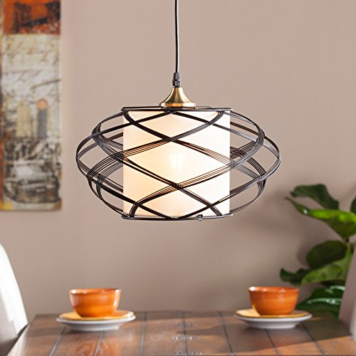 Southern Enterprises Alento Wire Cage Pendant Lamp in Black (Nook Breakfast Lighting)