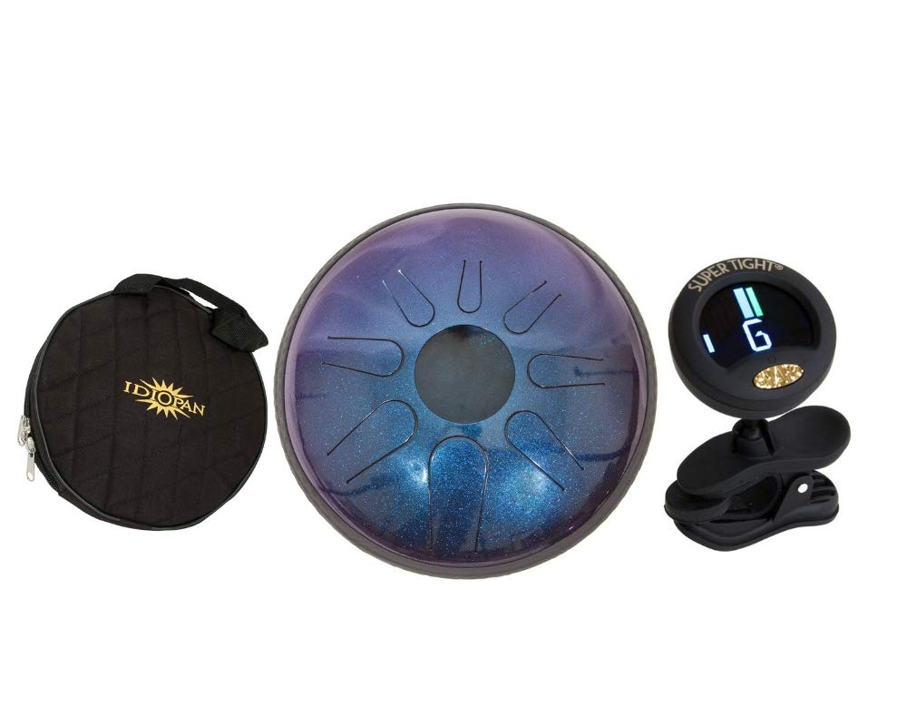 Idiopan Domina Steel Drum Package Includes: 12-inch Tunable Steel Tongue Drum - Sapphire Blue + Idiopan 12'' Standard Gig Bag For Tongue Drum & Chromatic Tuner