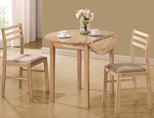 Coaster 3 Piece Dining Set Natural (Small Kitchen Table Set)