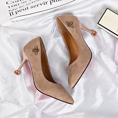 Schuhe Wildleder Wildkatze Heels beige Mouth Mode Shallow albicocca High 36 Spitz 5qxTXfw
