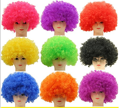 Afro Cosplay Wig, GINFun Halloween Costume Football Fan Hair Wig Clown Hair Wigs Masquerade Afro Wig Disco Fancy Dress Cosplay (Asuna Costume Cheap)