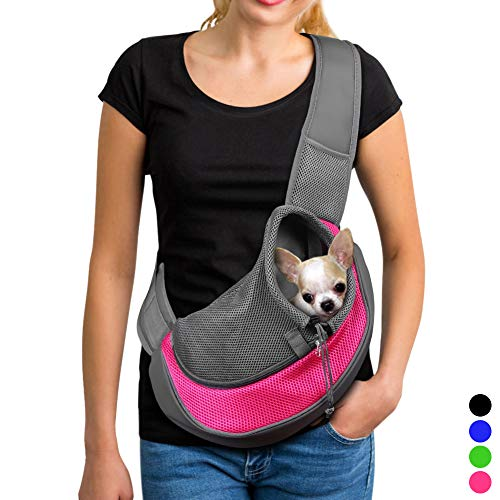 (YUDODO Pet Dog Sling Carrier Breathable Mesh Travel Safe Sling Bag Carrier for Dogs Cats (S up to 5lbs Pink) )