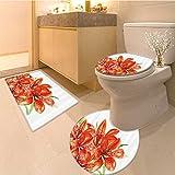 3 Piece Anti-slip mat set Pastora Themed Large Lilies in Vibrant Colors Habitat Artwork Red Green Non Slip Bathroom Rugs