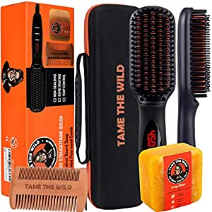"Tame's Elite Beard Straightener Brush - Anti-Scald Beard Straightening Comb - Heated Beard Brush Straightener - Beard Soap - Pearwood Comb - Storage Case Included - Best for Beards Over 2"" Long."