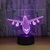 Circle Circle Aircraft Plane Shape 3D Optical Illusion Lamp 7 Colors Change and 15 Keys Remote Control LED Night Light Toys
