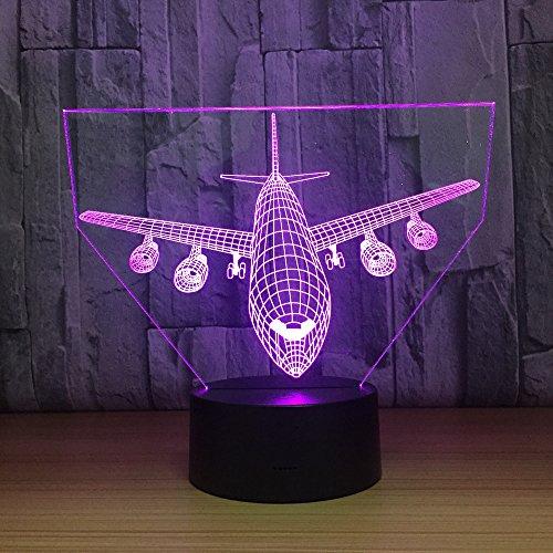 Circle Circle Aircraft Plane Shape 3D Optical Illusion Lamp 7 Colors Change and 15 Keys Remote Control LED Night Light Toys by Circle Circle