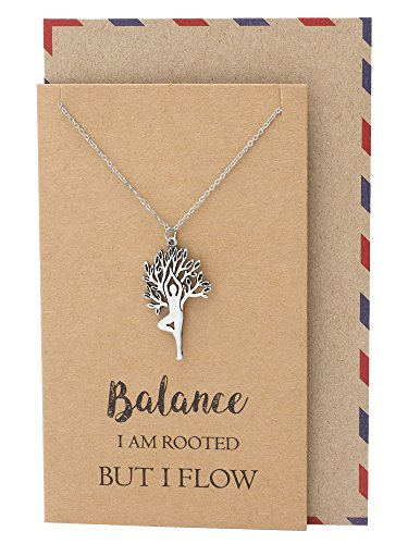 Quan Jewelry Yoga Vriksasana Asana Tree Pose Meditation Pendant Necklace, Greeting Card, Inspirational Quote ()