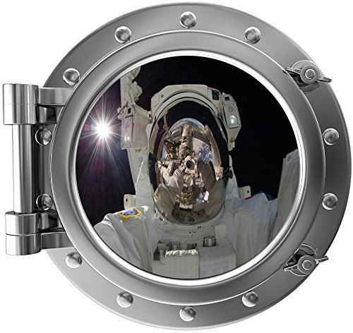 """12"""" Port Scape Instant Space Ship Window ASTRONAUT SELFIE #1 SILVER Porthole Wall Decal Sticker Graphic Home Kids Game Room Art Decor NEW"""
