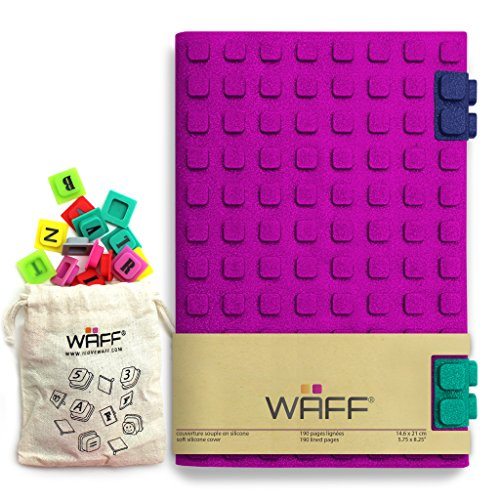 """WAFF, Soft Silicone Cube Tiles And Notebook / Journal Combo, Large, 8.25"""" x 5.5"""" (+ 100 Cubes) - Glitter Fuchsia"""