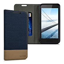 kwmobile Flip Cover Case for LG Google Nexus 5X - Protection case Cover Bookstyle made of synthetic leather and fabric in dark blue brown